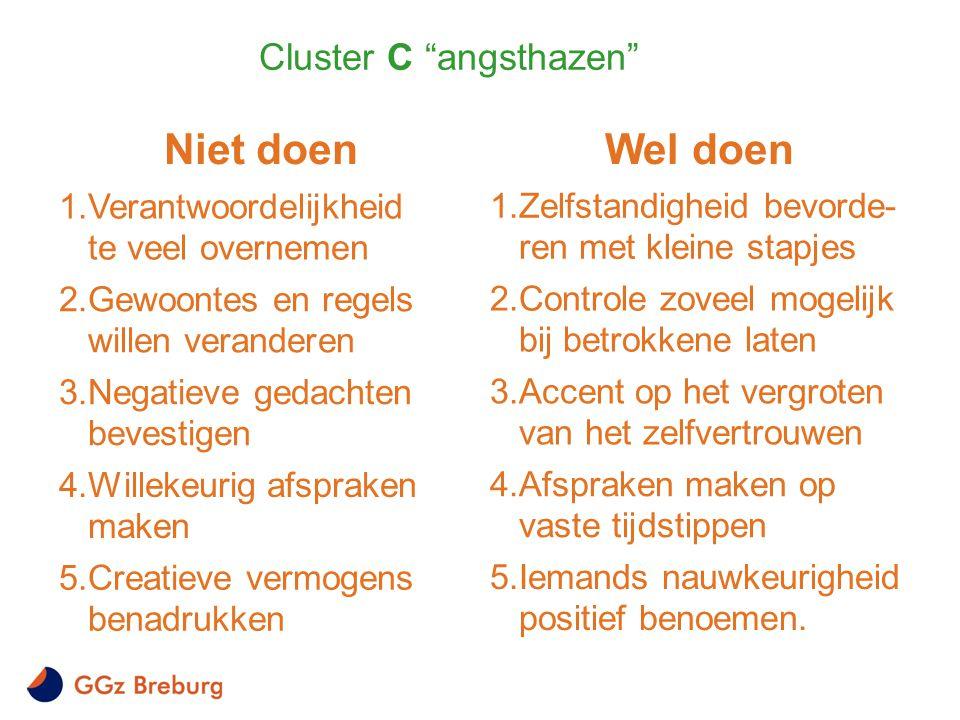 """Cluster C """"angsthazen"""" Niet doen 1.Verantwoordelijkheid te veel overnemen 2.Gewoontes en regels willen veranderen 3.Negatieve gedachten bevestigen 4.W"""