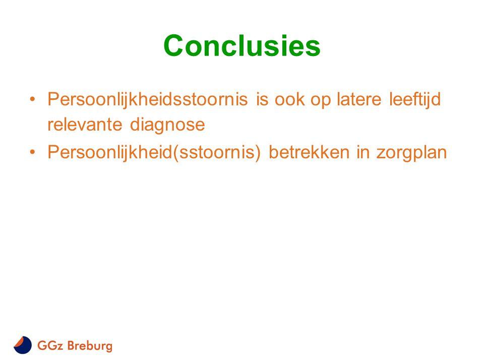 Conclusies •Persoonlijkheidsstoornis is ook op latere leeftijd relevante diagnose •Persoonlijkheid(sstoornis) betrekken in zorgplan