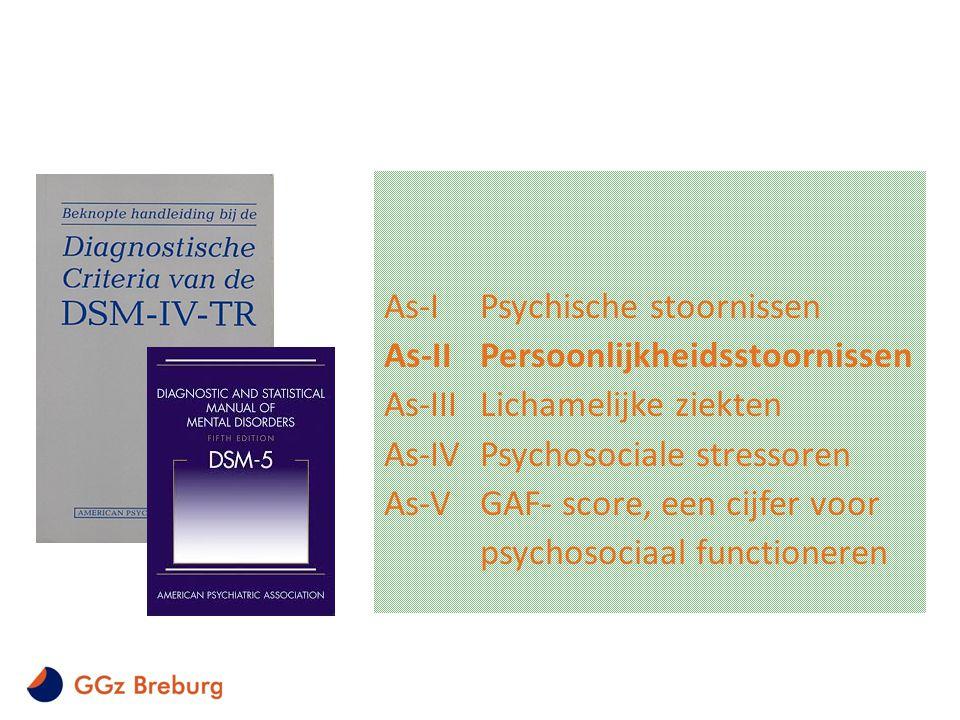 As-IPsychische stoornissen As-IIPersoonlijkheidsstoornissen As-IIILichamelijke ziekten As-IVPsychosociale stressoren As-VGAF- score, een cijfer voor p