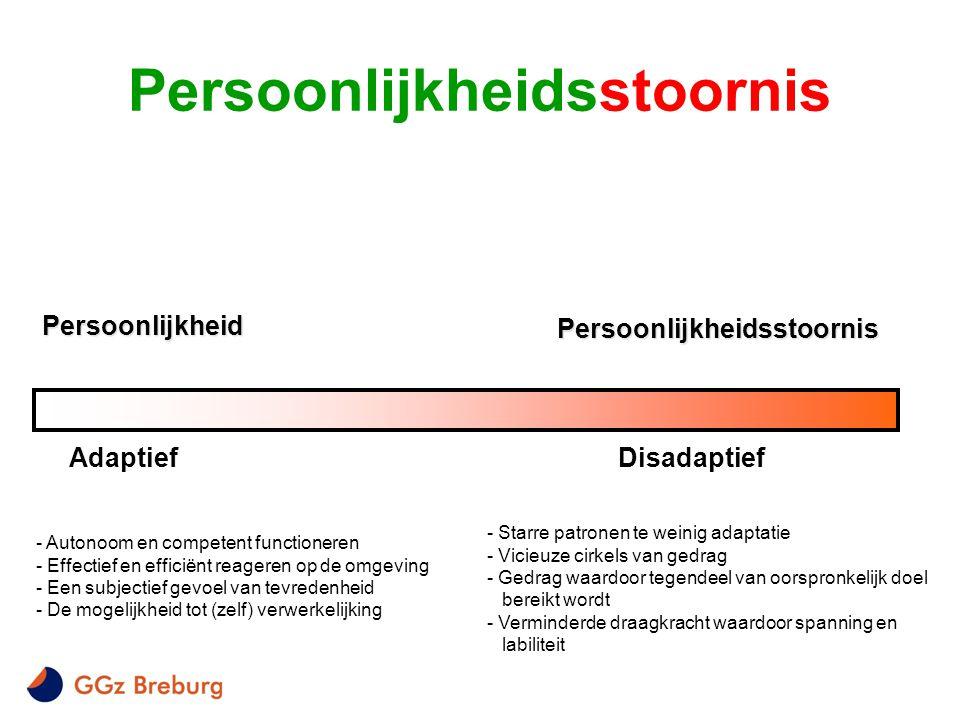 Persoonlijkheid Persoonlijkheidsstoornis AdaptiefDisadaptief - Autonoom en competent functioneren - Effectief en efficiënt reageren op de omgeving - E