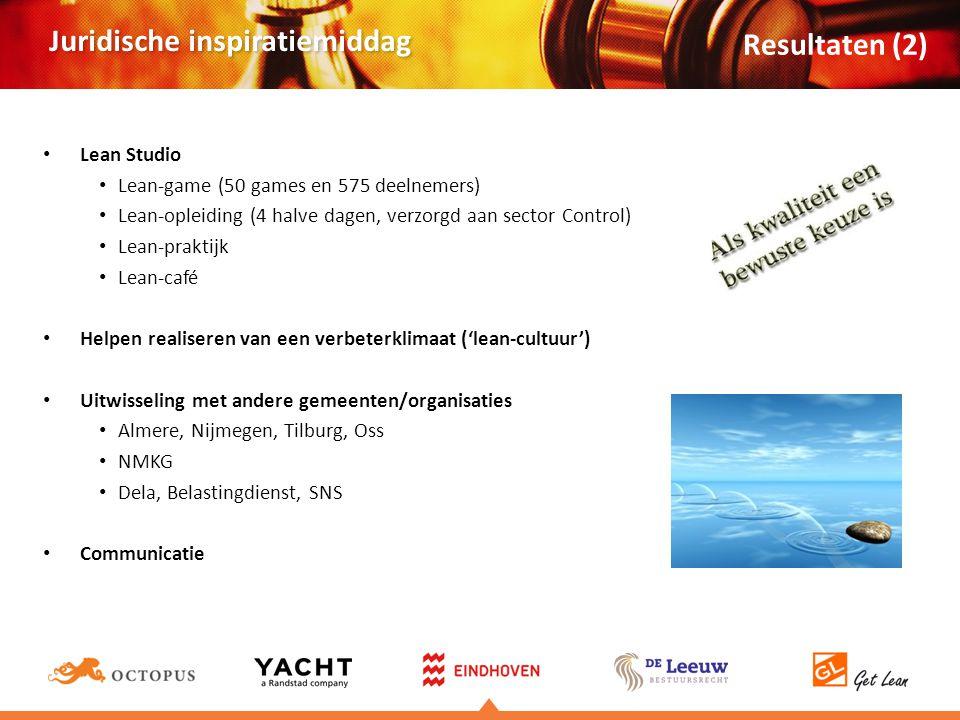 Juridische inspiratiemiddag • Lean Studio • Lean-game (50 games en 575 deelnemers) • Lean-opleiding (4 halve dagen, verzorgd aan sector Control) • Lean-praktijk • Lean-café • Helpen realiseren van een verbeterklimaat ('lean-cultuur') • Uitwisseling met andere gemeenten/organisaties • Almere, Nijmegen, Tilburg, Oss • NMKG • Dela, Belastingdienst, SNS • Communicatie Resultaten (2)