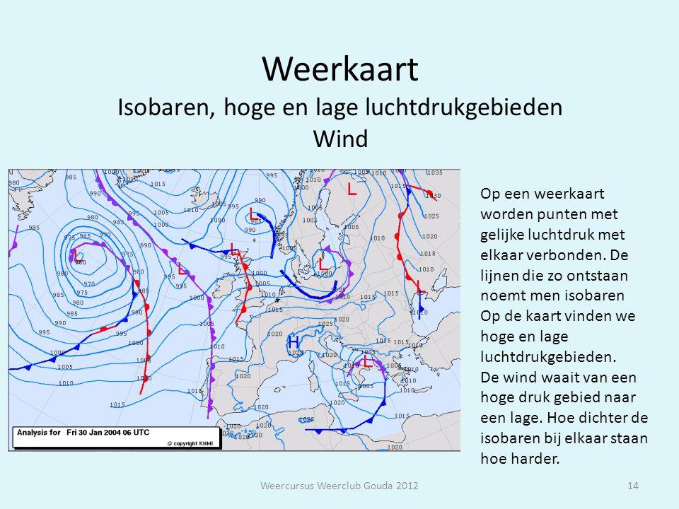 Weerkaart Isobaren, hoge en lage luchtdrukgebieden Wind Weercursus Weerclub Gouda 201214 Op een weerkaart worden punten met gelijke luchtdruk met elka