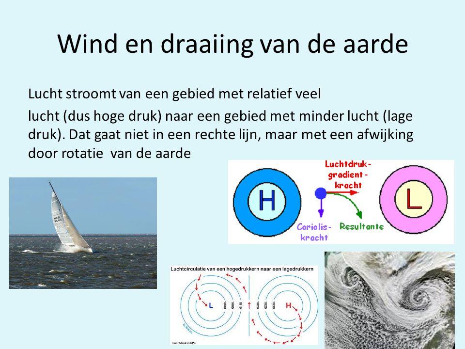 Wind en draaiing van de aarde Lucht stroomt van een gebied met relatief veel lucht (dus hoge druk) naar een gebied met minder lucht (lage druk). Dat g