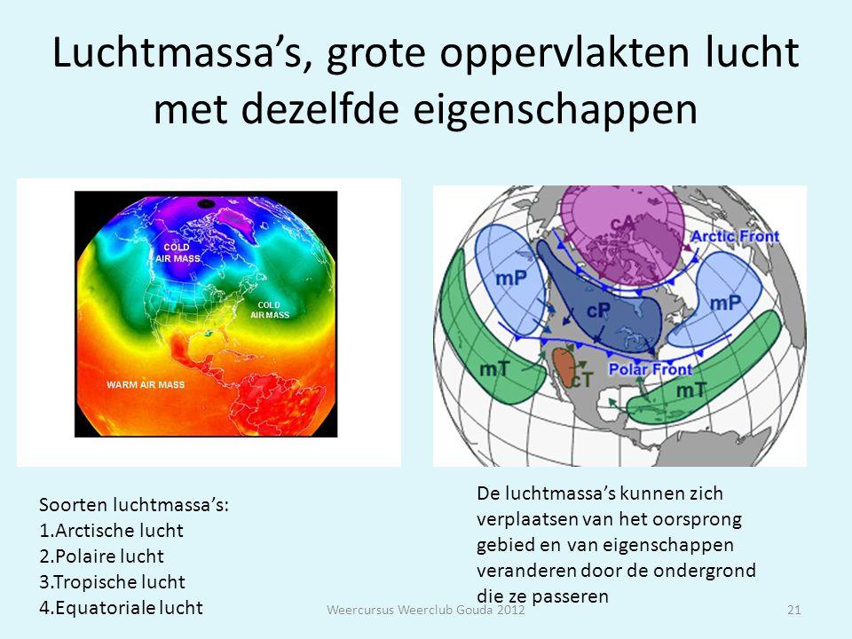 Luchtmassa's, grote oppervlakten lucht met dezelfde eigenschappen Weercursus Weerclub Gouda 201221 Soorten luchtmassa's: 1.Arctische lucht 2.Polaire l