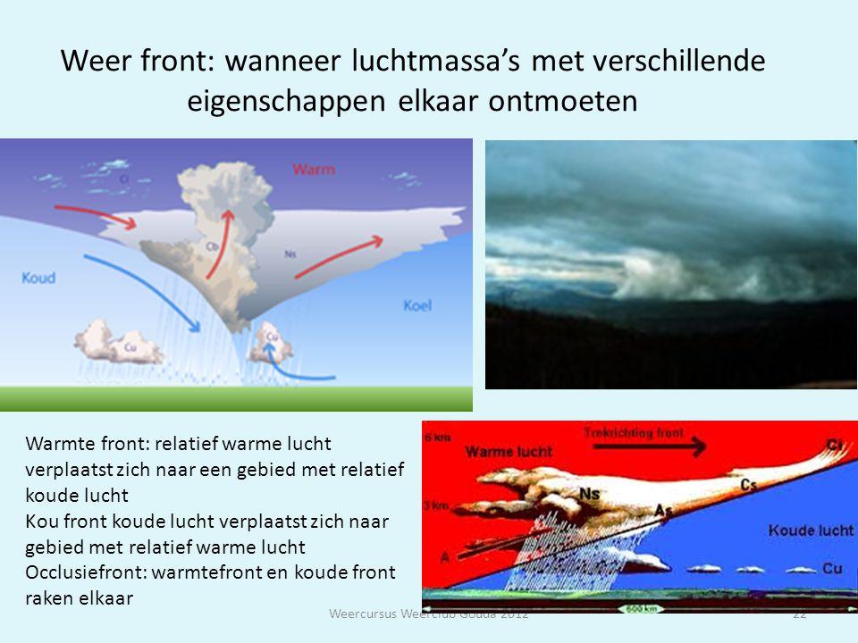 Weer front: wanneer luchtmassa's met verschillende eigenschappen elkaar ontmoeten Weercursus Weerclub Gouda 201222 Warmte front: relatief warme lucht
