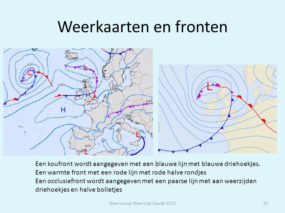 Weerkaarten en fronten Weercursus Weerclub Gouda 201223 Een koufront wordt aangegeven met een blauwe lijn met blauwe driehoekjes. Een warmte front met