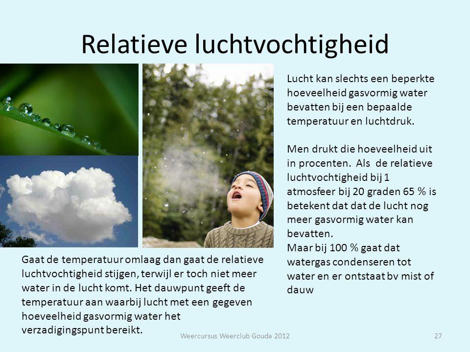 Relatieve luchtvochtigheid Weercursus Weerclub Gouda 201227 Lucht kan slechts een beperkte hoeveelheid gasvormig water bevatten bij een bepaalde tempe