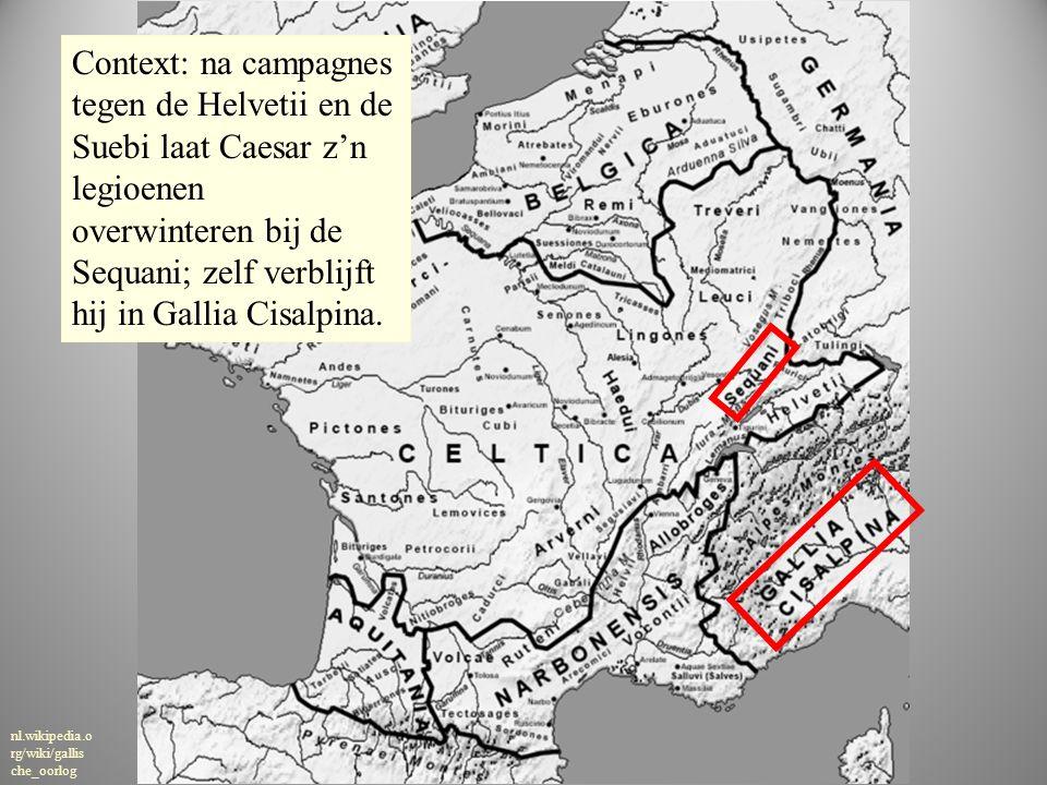 kaar t nl.wikipedia.o rg/wiki/gallis che_oorlog Context: na campagnes tegen de Helvetii en de Suebi laat Caesar z'n legioenen overwinteren bij de Sequ