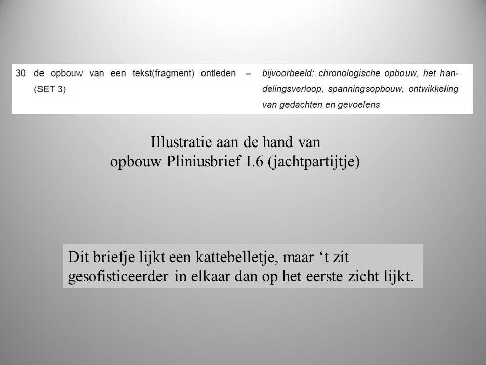 Illustratie aan de hand van opbouw Pliniusbrief I.6 (jachtpartijtje) Dit briefje lijkt een kattebelletje, maar 't zit gesofisticeerder in elkaar dan o