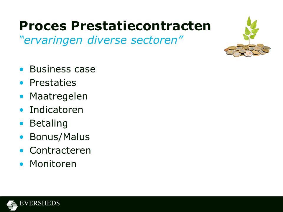 Proces Prestatiecontracten ervaringen diverse sectoren •Business case •Prestaties •Maatregelen •Indicatoren •Betaling •Bonus/Malus •Contracteren •Monitoren