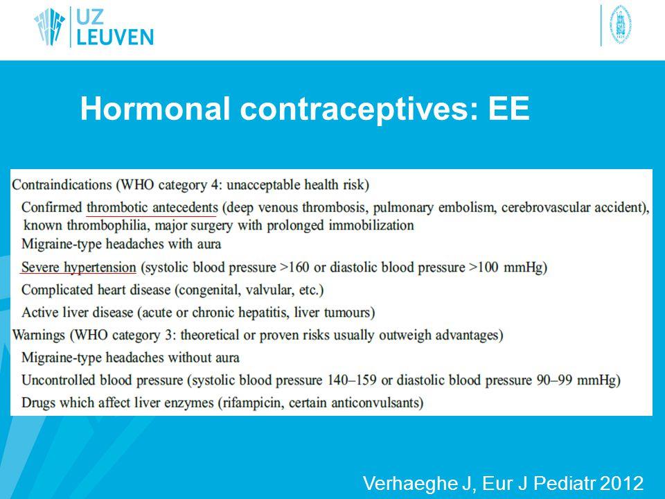 Hormonal contraceptives: EE Verhaeghe J, Eur J Pediatr 2012