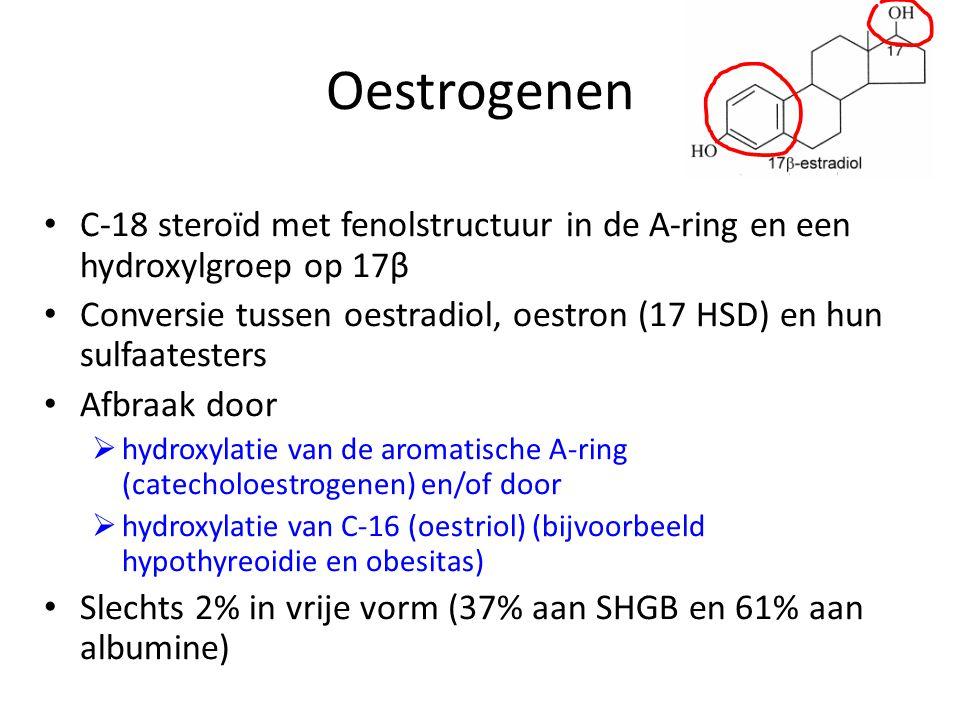 Oestrogenen • C-18 steroïd met fenolstructuur in de A-ring en een hydroxylgroep op 17β • Conversie tussen oestradiol, oestron (17 HSD) en hun sulfaate