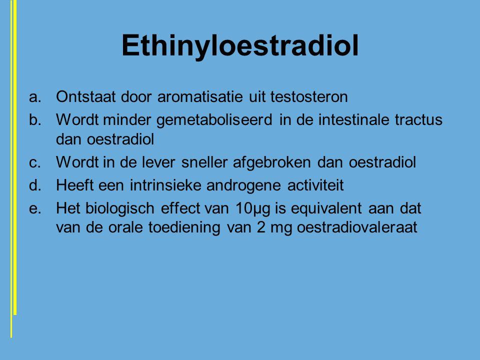 Ethinyloestradiol a.Ontstaat door aromatisatie uit testosteron b.Wordt minder gemetaboliseerd in de intestinale tractus dan oestradiol c.Wordt in de l