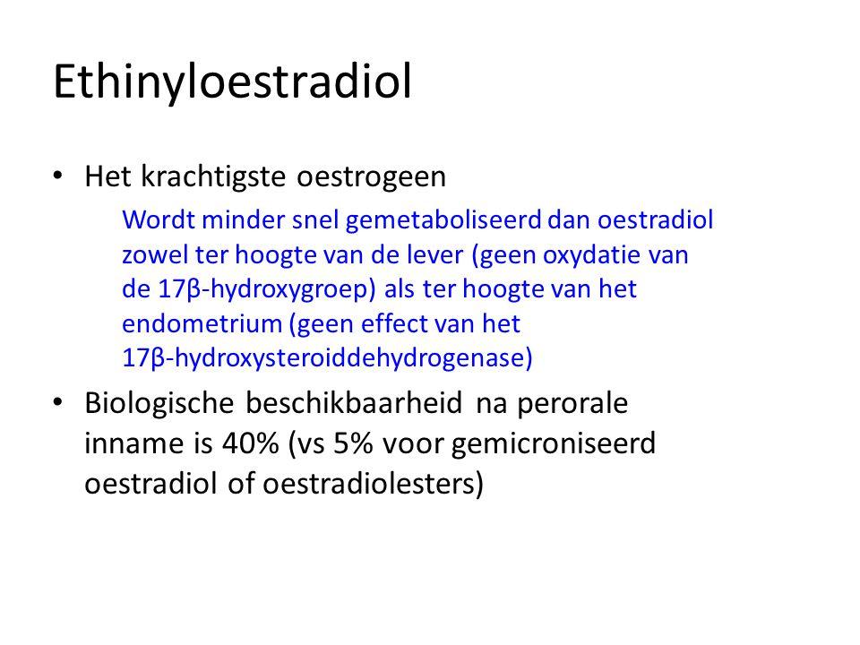 Ethinyloestradiol • Het krachtigste oestrogeen Wordt minder snel gemetaboliseerd dan oestradiol zowel ter hoogte van de lever (geen oxydatie van de 17