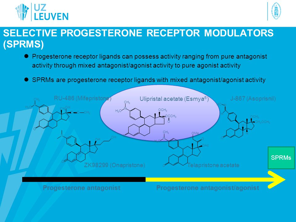 ● Progesterone receptor ligands can possess activity ranging from pure antagonist activity through mixed antagonist/agonist activity to pure agonist activity ● SPRMs are progesterone receptor ligands with mixed antagonist/agonist activity SELECTIVE PROGESTERONE RECEPTOR MODULATORS (SPRMS) Progesterone antagonistProgesterone antagonist/agonist O CH 3 N H3CH3C C OH CCH 3 RU-486 (Mifepristone) O H H H N OCH 3 HO CH 2 OCH 3 J-867 (Asoprisnil) O N CH 3 H3CH3C OCH 3 OCCH 3 O Ulipristal acetate (Esmya ® ) O O OMe N OAc CH 3 H3CH3C Telapristone acetate N O OH ZK98299 (Onapristone) SPRMs
