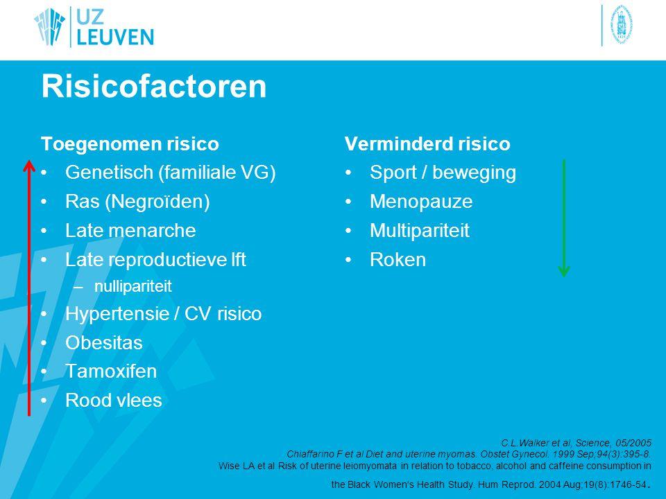 Risicofactoren Toegenomen risico •Genetisch (familiale VG) •Ras (Negroïden) •Late menarche •Late reproductieve lft –nullipariteit •Hypertensie / CV ri