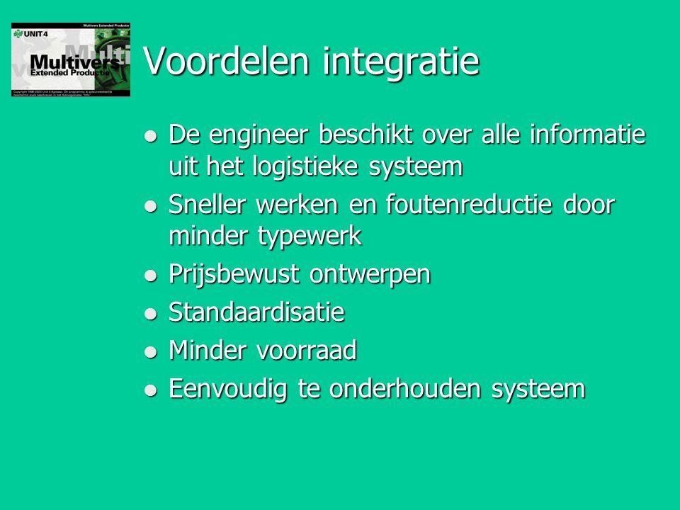 Voordelen integratie l De engineer beschikt over alle informatie uit het logistieke systeem l Sneller werken en foutenreductie door minder typewerk l