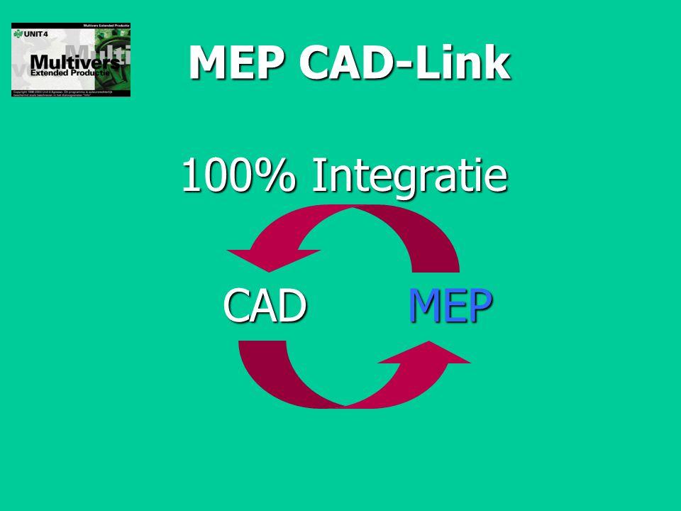 MEP CAD-Link 100% Integratie CAD MEP CAD MEP