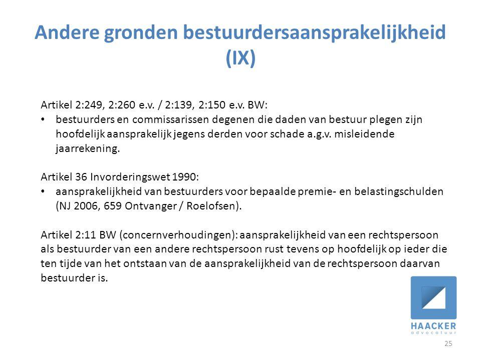 Andere gronden bestuurdersaansprakelijkheid (IX) 25 Artikel 2:249, 2:260 e.v.