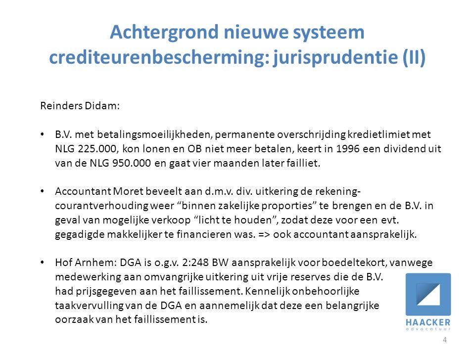 Achtergrond nieuwe systeem crediteurenbescherming: jurisprudentie (II) 4 Reinders Didam: • B.V. met betalingsmoeilijkheden, permanente overschrijding