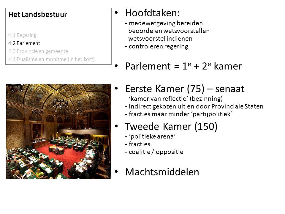 • Hoofdtaken: - medewetgeving bereiden beoordelen wetsvoorstellen wetsvoorstel indienen - controleren regering • Parlement = 1 e + 2 e kamer • Eerste