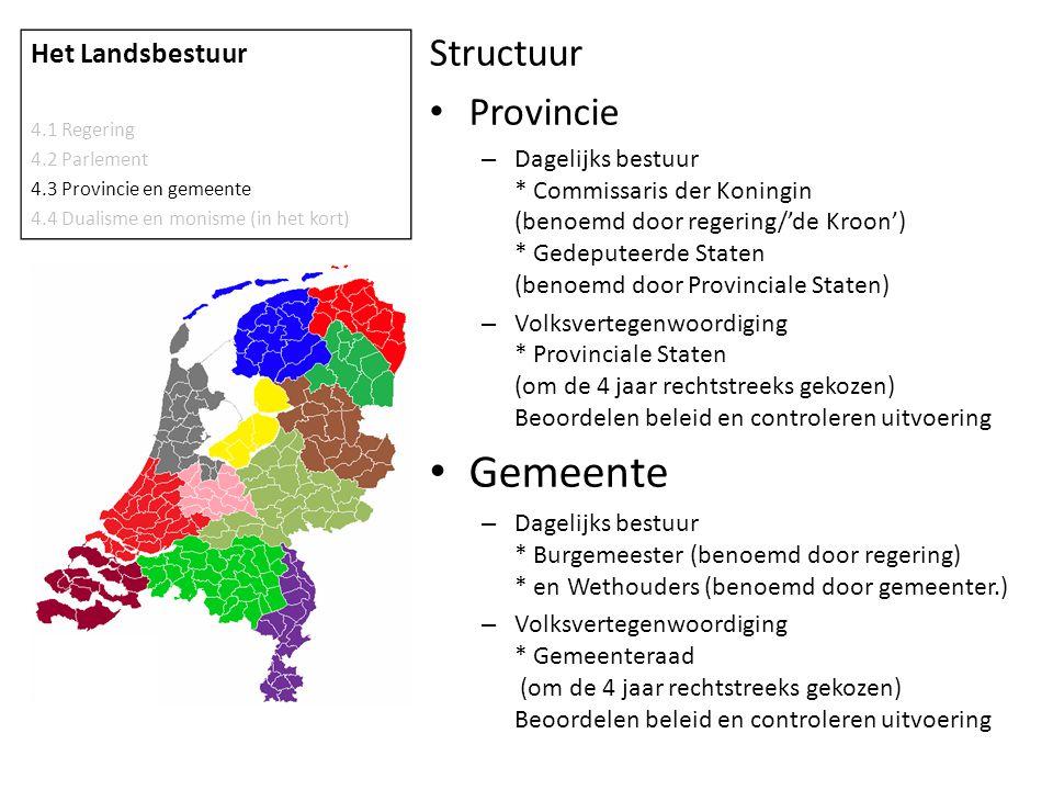 Structuur • Provincie – Dagelijks bestuur * Commissaris der Koningin (benoemd door regering/'de Kroon') * Gedeputeerde Staten (benoemd door Provincial
