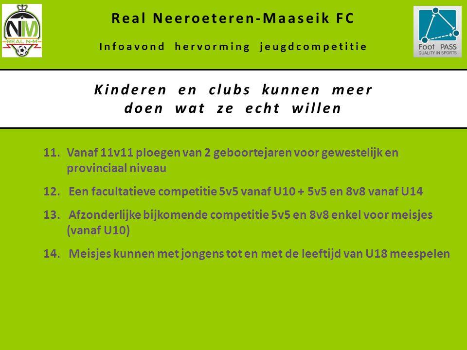 Kinderen en clubs kunnen meer doen wat ze echt willen Real Neeroeteren-Maaseik FC Infoavond hervorming jeugdcompetitie 11.Vanaf 11v11 ploegen van 2 ge