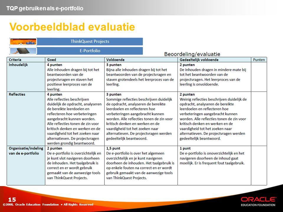 15 Voorbeeldblad evaluatie ©2008, Oracle Education Foundation • All Rights Reserved TQP gebruiken als e-portfolio