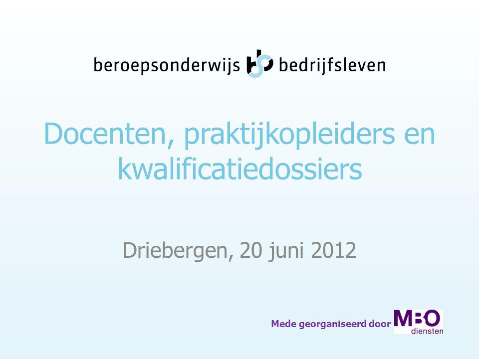 Docenten, praktijkopleiders en kwalificatiedossiers Driebergen, 20 juni 2012 Mede georganiseerd door