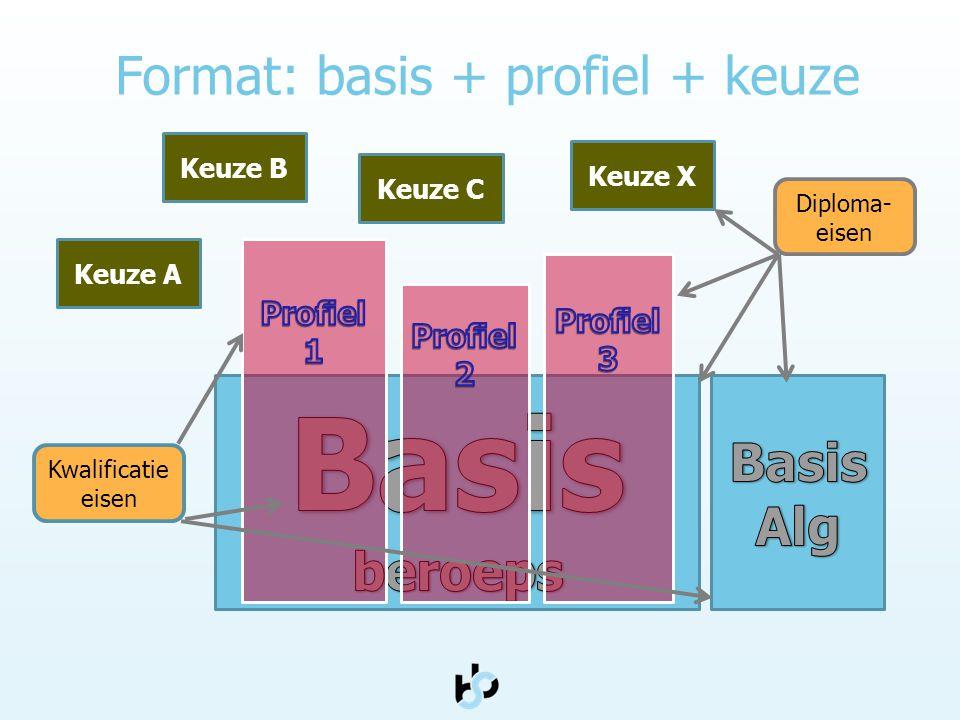Format: basis + profiel + keuze Keuze A Keuze C Keuze B Keuze X Diploma- eisen Kwalificatie eisen