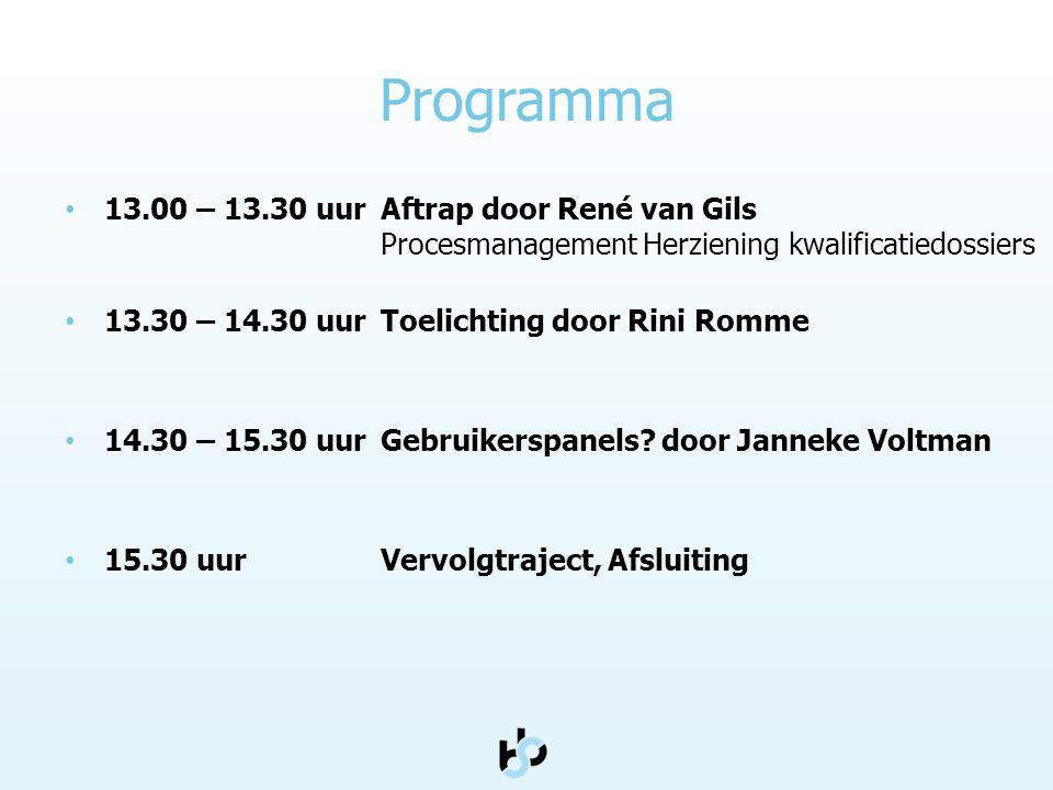 Programma • 13.00 – 13.30 uurAftrap door René van Gils Procesmanagement Herziening kwalificatiedossiers • 13.30 – 14.30 uurToelichting door Rini Romme • 14.30 – 15.30 uur Gebruikerspanels.