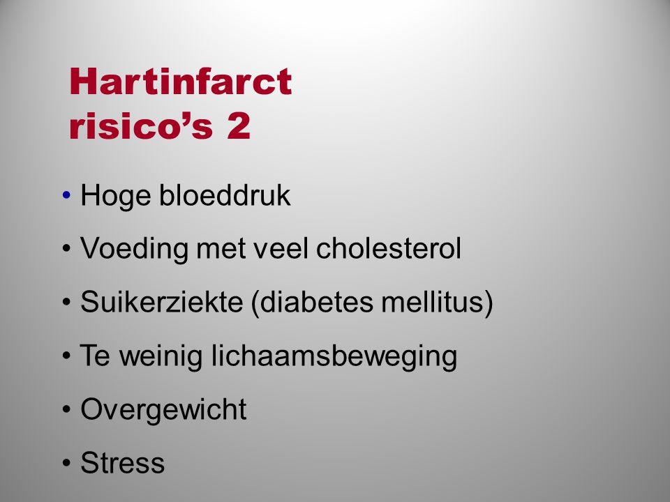 • Hoge bloeddruk • Voeding met veel cholesterol • Suikerziekte (diabetes mellitus) • Te weinig lichaamsbeweging • Overgewicht • Stress Hartinfarct ris