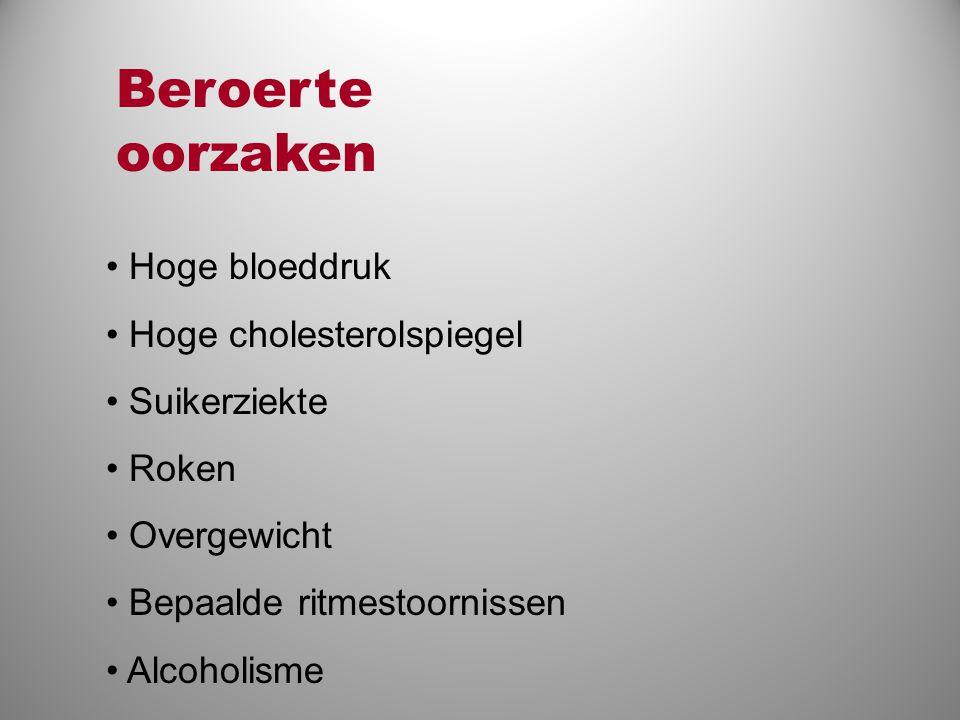 • Hoge bloeddruk • Hoge cholesterolspiegel • Suikerziekte • Roken • Overgewicht • Bepaalde ritmestoornissen • Alcoholisme Beroerte oorzaken