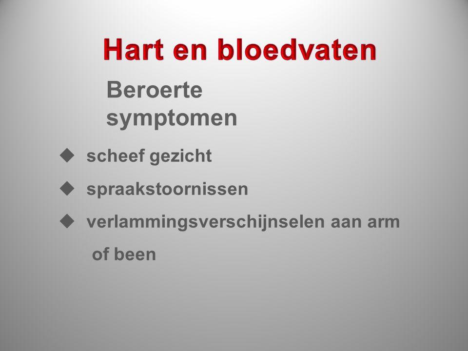 Beroerte symptomen  scheef gezicht  spraakstoornissen  verlammingsverschijnselen aan arm of been