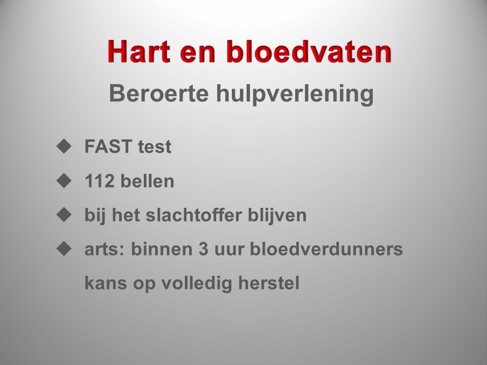 Beroerte hulpverlening  FAST test  112 bellen  bij het slachtoffer blijven  arts: binnen 3 uur bloedverdunners kans op volledig herstel