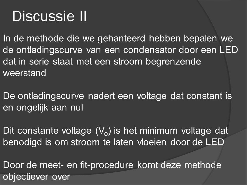 Discussie II In de methode die we gehanteerd hebben bepalen we de ontladingscurve van een condensator door een LED dat in serie staat met een stroom begrenzende weerstand De ontladingscurve nadert een voltage dat constant is en ongelijk aan nul Dit constante voltage (V o ) is het minimum voltage dat benodigd is om stroom te laten vloeien door de LED Door de meet- en fit-procedure komt deze methode objectiever over