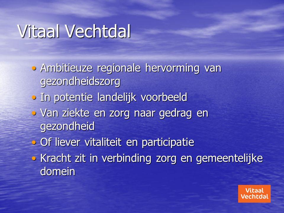 •Ambitieuze regionale hervorming van gezondheidszorg •In potentie landelijk voorbeeld •Van ziekte en zorg naar gedrag en gezondheid •Of liever vitalit