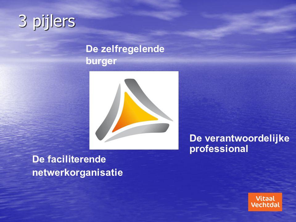 3 pijlers De zelfregelende burger De verantwoordelijke professional De faciliterende netwerkorganisatie