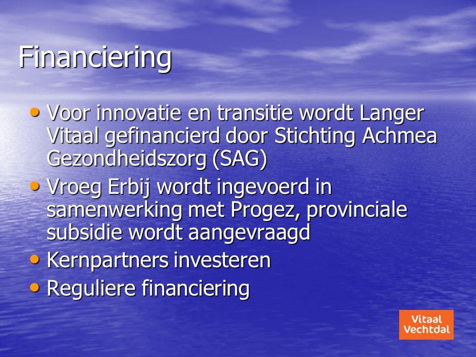 Financiering • Voor innovatie en transitie wordt Langer Vitaal gefinancierd door Stichting Achmea Gezondheidszorg (SAG) • Vroeg Erbij wordt ingevoerd