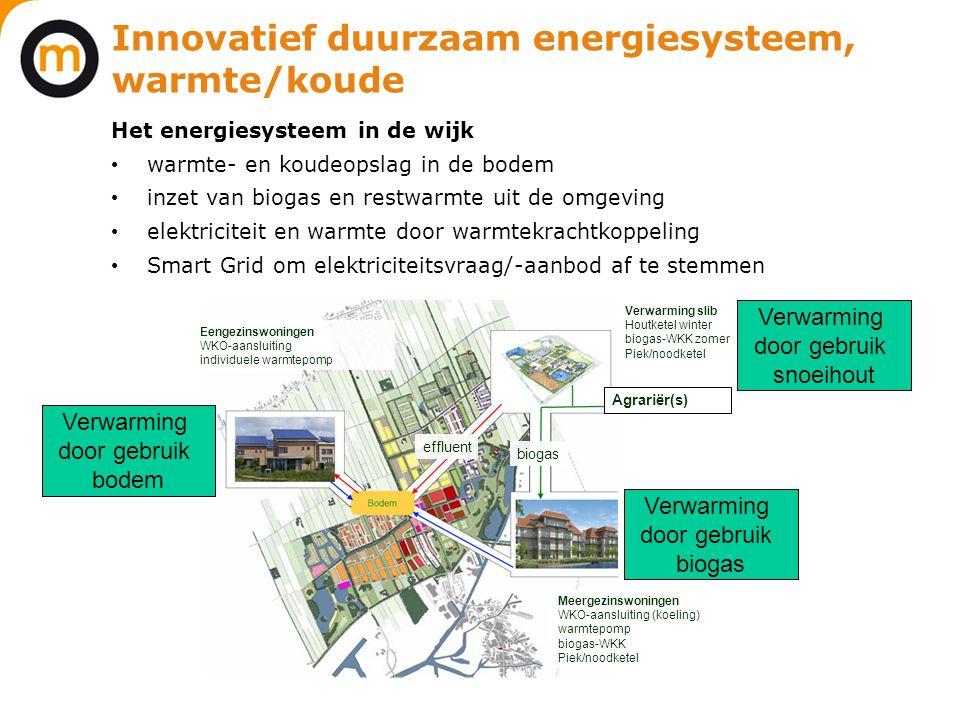 Innovatief duurzaam energiesysteem, warmte/koude Het energiesysteem in de wijk • warmte- en koudeopslag in de bodem • inzet van biogas en restwarmte u