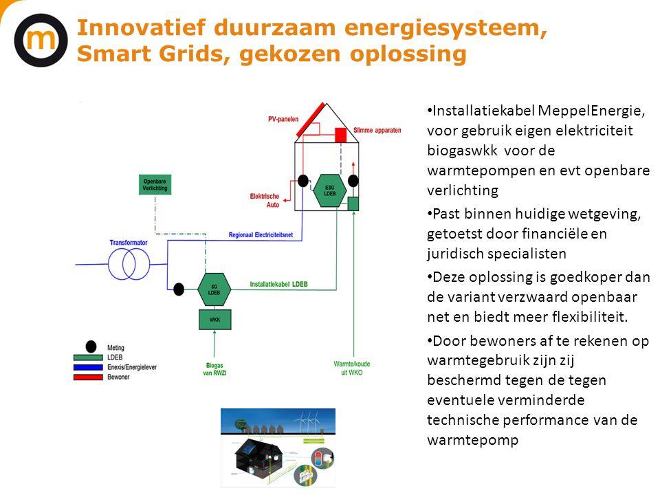 Innovatief duurzaam energiesysteem, Smart Grids, gekozen oplossing • Installatiekabel MeppelEnergie, voor gebruik eigen elektriciteit biogaswkk voor d