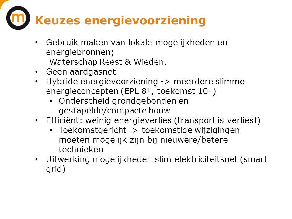 Keuzes energievoorziening • Gebruik maken van lokale mogelijkheden en energiebronnen; Waterschap Reest & Wieden, • Geen aardgasnet • Hybride energievo