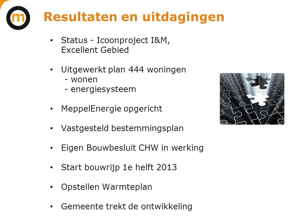 Resultaten en uitdagingen • Status - Icoonproject I&M, Excellent Gebied • Uitgewerkt plan 444 woningen - wonen - energiesysteem • MeppelEnergie opgeri