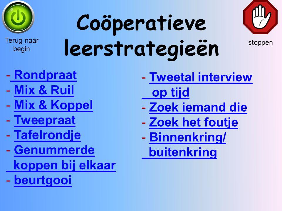 Coöperatieve leerstrategieën stoppen Terug naar begin - Rondpraat Rondpraat - Mix & RuilMix & Ruil - Mix & KoppelMix & Koppel - TweepraatTweepraat - T