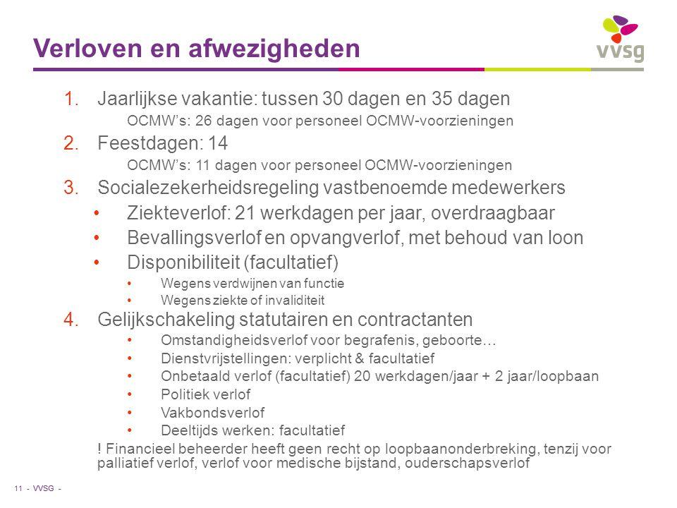 VVSG - Verloven en afwezigheden 1.Jaarlijkse vakantie: tussen 30 dagen en 35 dagen OCMW's: 26 dagen voor personeel OCMW-voorzieningen 2.Feestdagen: 14