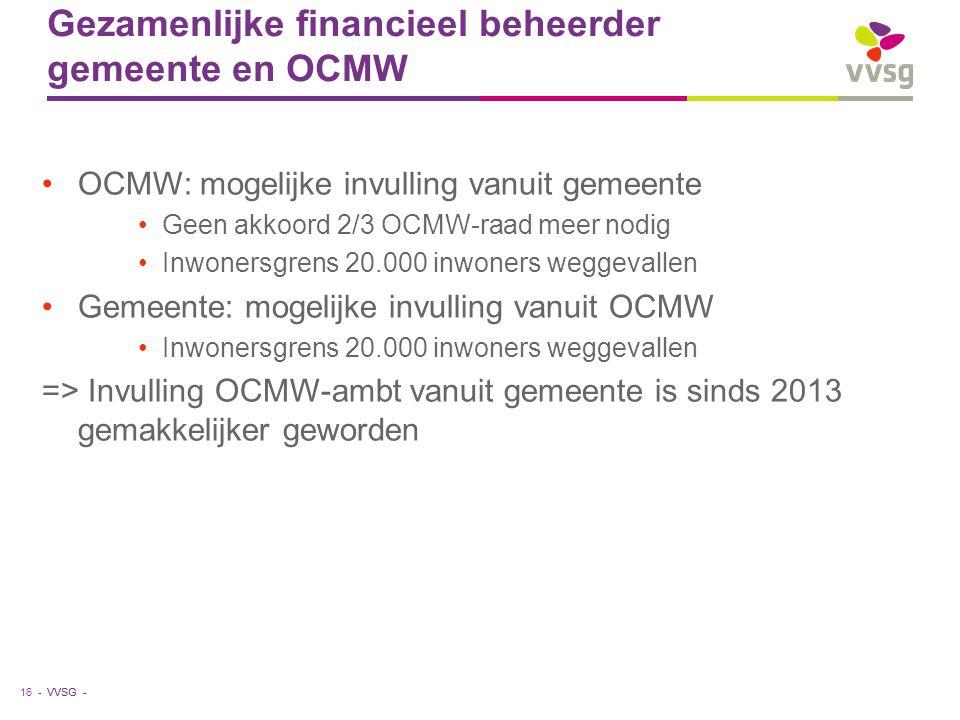 VVSG - Gezamenlijke financieel beheerder gemeente en OCMW •OCMW: mogelijke invulling vanuit gemeente •Geen akkoord 2/3 OCMW-raad meer nodig •Inwonersg