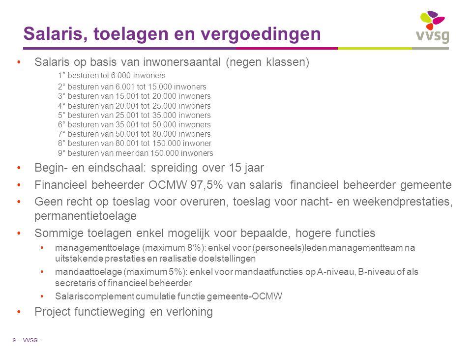 VVSG - Salaris, toelagen en vergoedingen •Salaris op basis van inwonersaantal (negen klassen) 1° besturen tot 6.000 inwoners 2° besturen van 6.001 tot