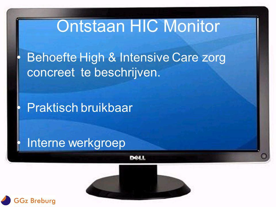 Ontstaan HIC Monitor •Behoefte High & Intensive Care zorg concreet te beschrijven. •Praktisch bruikbaar •Interne werkgroep