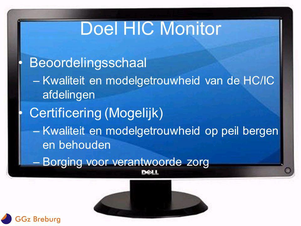 Doel HIC Monitor •Beoordelingsschaal –Kwaliteit en modelgetrouwheid van de HC/IC afdelingen •Certificering (Mogelijk) –Kwaliteit en modelgetrouwheid o