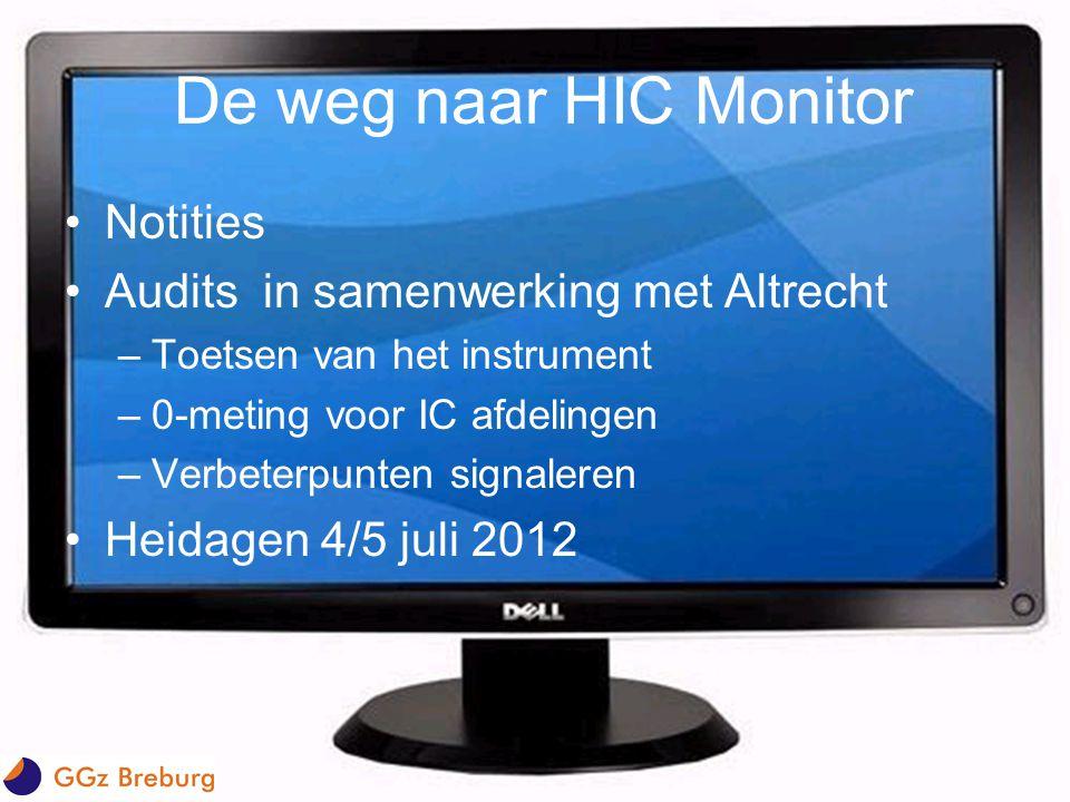 De weg naar HIC Monitor •Notities •Audits in samenwerking met Altrecht –Toetsen van het instrument –0-meting voor IC afdelingen –Verbeterpunten signal
